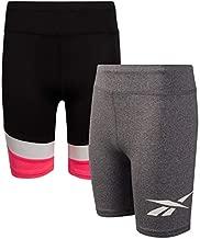 Reebok Girls Athletic Bike Shorts - Long Length Workout Running Shorts (2 Pack), Size Small, Black/Dark Heather Grey, Size Small (7), Black/Charcoal