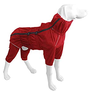 Dr.NONO Dog Raincoat with Zipper and Reflective Strip,Adjustable Waterproof Jacket,Breathable Lightweight Dog Poncho for Medium Large Dog