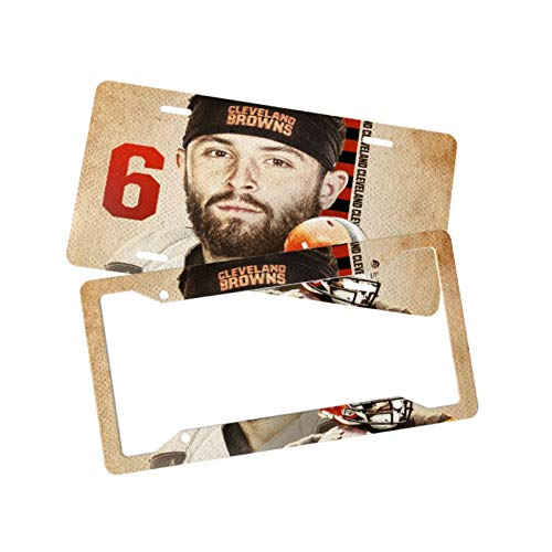 """SeacoLazyAngle Baker Mayfield Decorative Car License Plates with Cover Set of 2, Auto Front Vanity Tags 12.2"""" x 6.3"""" with Accessories"""