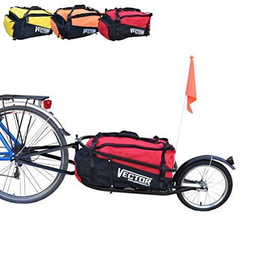 Polironeshop Vector fahrradanhänger lastenanhänger einrad anhänger gepäckanhänger mit Tasche (Rot)