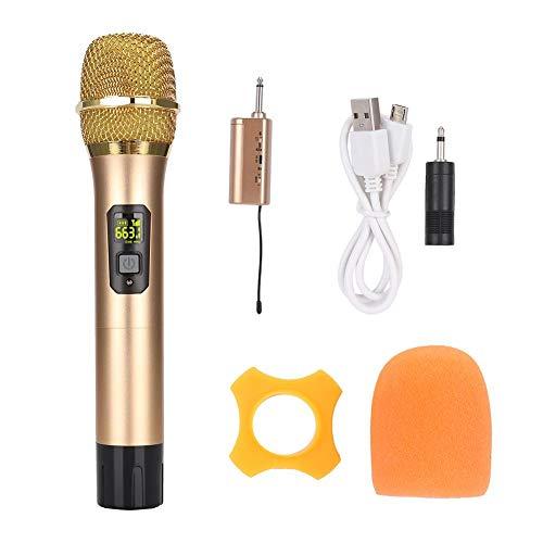 Microfoon, handmicrofoon, 600 mhz-700 mhz UHF handheld draadloze microfoon, met mini Bluetooth-ontvanger Goud, eenvoudig te bedienen en intelligent