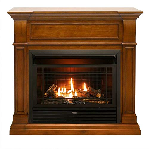 Duluth Forge 170152 Dual Fuel Ventless Gas Fireplace-26,000 BTU, Remote Control, Finish, Apple Spice (Light)