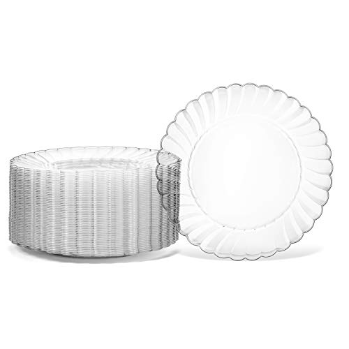 100 Premium Hard Clear Plastic Plates Set By Oasis Creations - 6' Clear Round Disposable Plates - Washable and Reusable