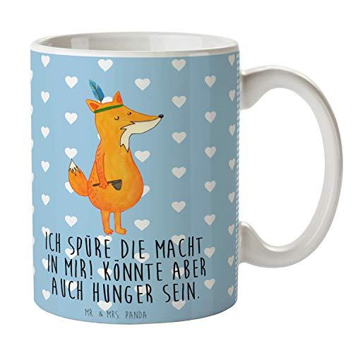 Mr. & Mrs. Panda Büro, Kaffeetasse, Tasse Fuchs Indianer mit Spruch - Farbe Blau Pastell