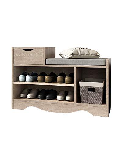 Banco zapatero con cojín para zapatos, con cajón, banco para el pasillo, zapatero, mueble bajo, armario, cojines, organizador para el pasillo y el salón (color madera)