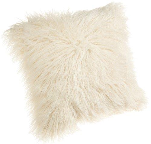 Brentwood 18-Inch Mongolian Faux Fur Pillow, White (Kitchen)