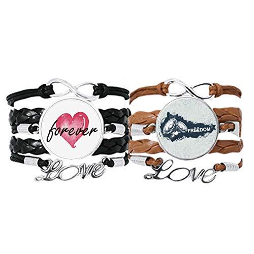 DIYthinker Graffiti Street Culture Hip-Hop Lautsprecher Armband Handschlaufe Leder Seil Forever Love Armband Doppelset