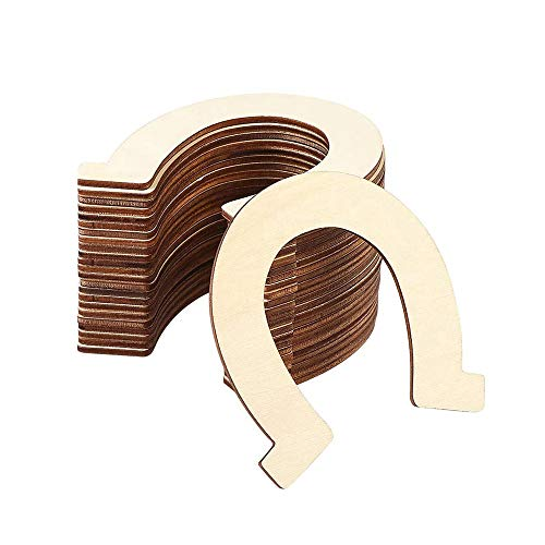 DIY Wooden Discs Horseshoe Cut-Outs,48 Pieces Unfinished Wooden Cutouts Craft DIY Decoration DIY Supplies for Your Decorations Crafts Party Wedding Birthday Tags Ornaments Coasters