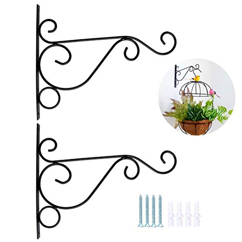 nuoshen 2 Pack Iron Plant Hanger Wall Hooks, Wall Hanging Plant Basket Brackets 10 Inches Outdoor Indoor Metal Iron Brackets with Screws for Gardening Decoration (Black)