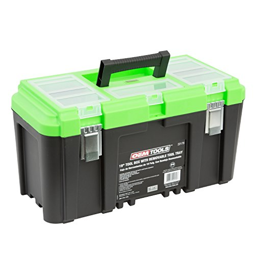 OEMTOOLS 22179 19 Inch Tool Box with Removable Tool Tray, Small Parts Organizer in Lid, Heavy Duty Tool Box with 2 Metal Latches, Rated up to 40 lbs, Green
