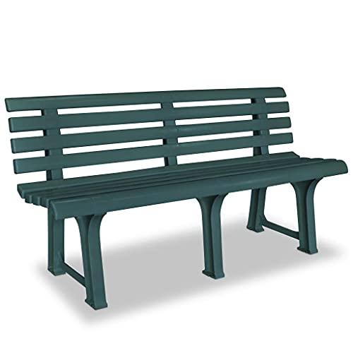 vidaXL Panchina da Giardino Stile Classico in Plastica Verde Panca da Esterni