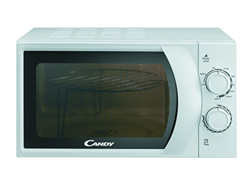 Candy CMG 2071 M Microondas con Grill, 6 Niveles, 2 mandos mecánicos, Plato Giratorio 24,5 cm, Potencia 700 W-900 W, 20 litros, Stainless Steel, blanco