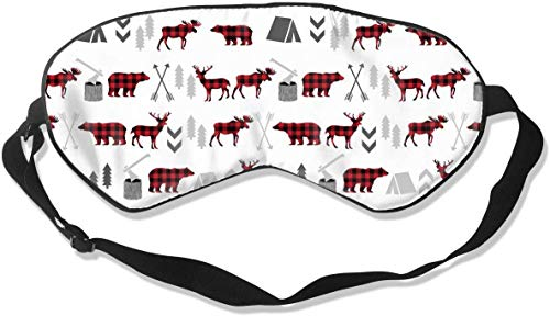 Natural Silk Smooth Eye Mask, Pressure-Free Sleep Mask Adjustable Blindfold, for Adult Kids Teens Sleeping Shift Work Naps Travel Eye Cover, Buffalo Plaid Woodland Moose Eyeshade