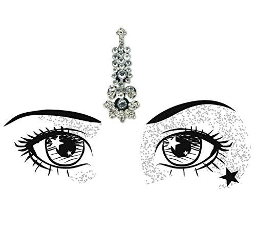Huge Silver Single Indian Festival Bindi/Diamante crystal Bridal Tikka/Tattoo Body Art Jewels/Face Gem/Bollywood Forehead Jewellery [LBSIL02)