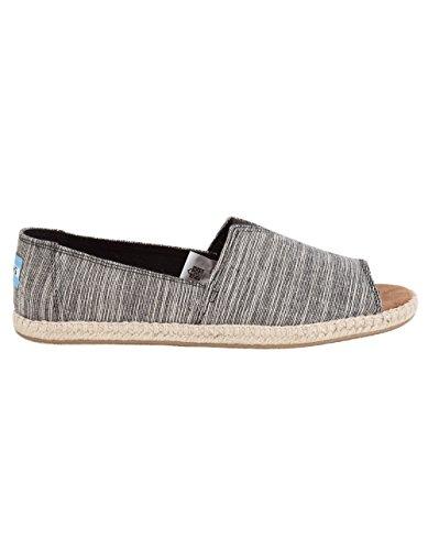 TOMS Women's Alpargata Open Toe Textile Black Microstripe Ankle-High Canvas Flat Shoe - 7M