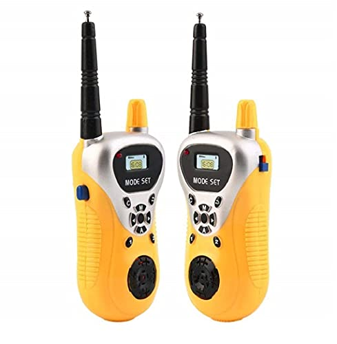 KRIDEZ Battery Operated Kids Walkie Talkie with 2 Player System Toy Interphone Toys for Way Radio 3-12 Year Old Boys Girls, Up to 20 Meter Outdoor Indoor Wireless Function Birthday Gift Range (Yellow)