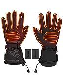 Guanti Riscaldati Uomo Donna, Touch Screen Guanti Moto Sci Invernali Uomo Impermeabili Ricaricabile Batteria Agli Ioni di Litio Polimerica 7.4V 2600mAh Power Bank Guanti Elettrici USB per Moto Bici