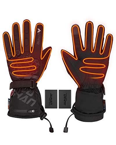 ISSYZONE Beheizbaren Handschuhe, Beheizt Winter Akku Handschuhe mit 2400mAh Wiederaufladbare Lithium-Ionen-Batterie, 3-Stufen-Temperaturregelung und Touchscreen (XXL)