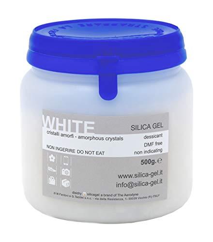 Disidry Silicagel Silica gel Bianco granulare in flacone sigillato da 500 grammi - DMF e Cobalt free