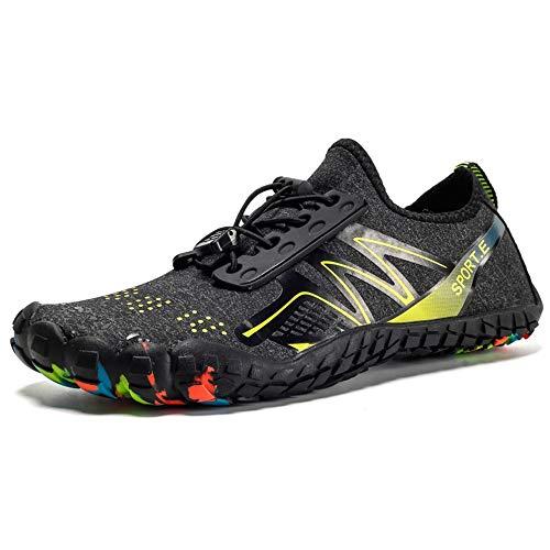 Zapatos de deportes de agua para hombre para mujer Cinco hombres de dedos Shuoxi zapatos de la playa de buceo de interferencia zapatos del agua Zapatos de agua de surf ( Color : Black , Size : 37 )