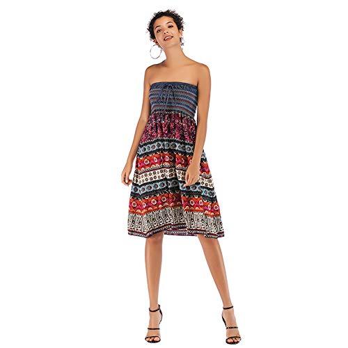 YYH Dames-rok Boheemse rok chiffon - strand handelsvest jurk Medium rozerood