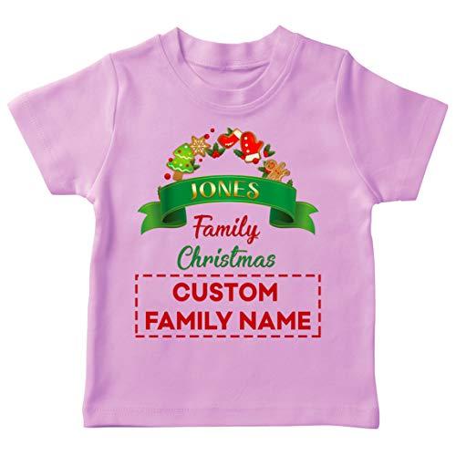 lepni.me Camiseta para Niños Personalizado Familia Trajes de Fiesta de Navidad del 2020 a Quego (12-13 Years Rosado Multicolor)