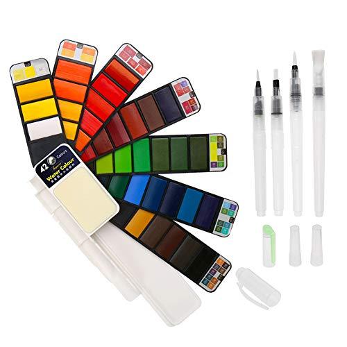 BBLIKE Acuarelas, Set de Pintura de Acuarela sólida,58 Colores Caja de Almacenamiento del Sector con 3 Pincel de Pintura de Agua Pigmento de Acuarelas portatiles para artículos de Arte