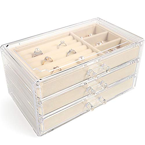 V-HANVER Acrylic Jewellery Box for Women with 3 Drawers, Velvet Clear Transparent Jewellery Jewelry Organiser for Earring Bangle Bracelet Necklace and Rings Storage Display Removable Tray(Beige)