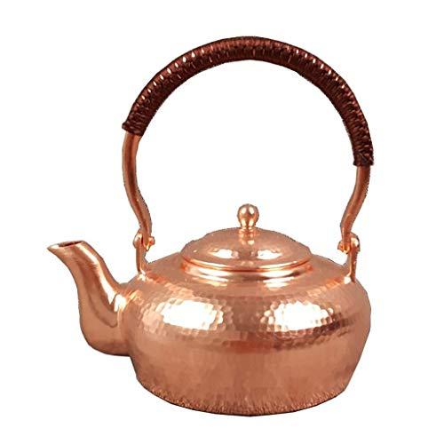 SHIXR Tetera Artesanal - Cobre Puro Hecho a Mano de Cobre Grueso Tetera de té Juego de té Hervidor de Cobre Puro Tetera de Salud Saludable sin Revestimiento Tetera para el hogar 1L