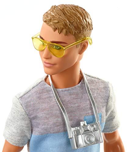 Barbie FWV15 Travel Ken Doll, with 5 Accessories, Dark Blonde