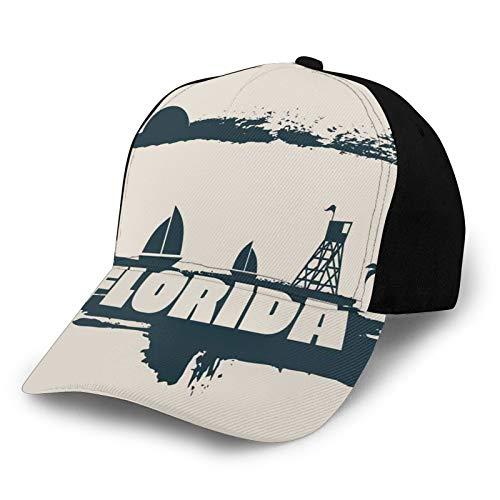 FULIYA Sommer-Baseballmütze Unisex Schnelltrocknende Baseballmützen,Palms Safeguard Tower On Beach Yachts and Paintbrush Cloudscape, Verstellbarer Sonnenhut für Outdoor-Sportarten