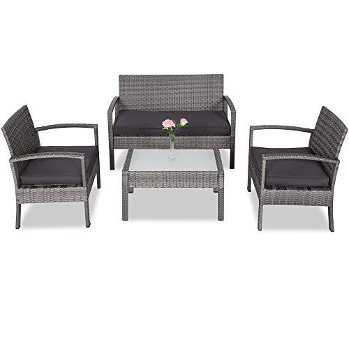Deuba   Salon de Jardin Patio en polyrotin • Set Complet + Coussins   Gris • résistant intempéries et UV, canapé, fauteuils, mobilier de Jardin