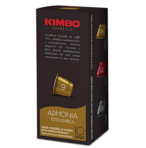 "- Kimbo - Cápsulas de café ""Armonia"" 100% arábigo. Cápsulas compatibles con cafeteras eléctricas Nespresso"