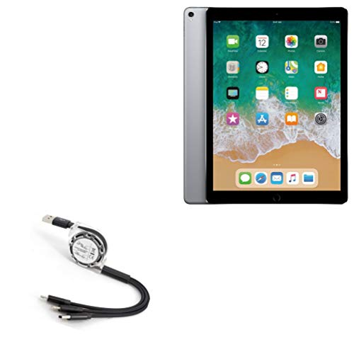 BoxWave Cable for Apple iPad Pro 12.9' (2nd Gen 2017) [AllCharge miniSync] Retractable, Portable USB Cable for Apple iPad Pro 12.9' (2nd Gen 2017) - Jet Black