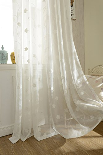 VOGOL YouYee Semi-Sheer Elegant Embroidered Solid White Rod Pocket Window Curtains/Drape/Panels/Treatment 54 x 84,Two Panels