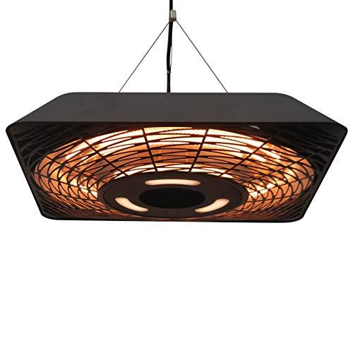 Outsunny Deckenheizstrahler 800W/1200W/2000W 5 Modi Heizstrahler IP45 Elektro Heizpilz mit Fernbedienung LED-Licht Alu Glas Schwarz 45 x 45 x 10 cm