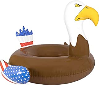 Inflatable Pool Floats & Rafts for Swimming Pool Bald Eagle Beach Summer Time Party Fun - Adults Lake Floats or River Raft Floats - Floating in Water or Lounge Pool Fun