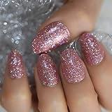 URTJSDG Uñas Falsas Colorful Shimmer Glitter Pink False Fake Nails Gel Press En Summer Short Round Head Fácil De Usar para Las Puntas De Las Uñas De La Oficina En Casa