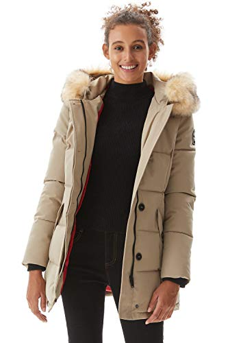 Winter Jacket for Women, Molemsx Winter Coat Women Outdoor Windproof Waterproof Ski Jacket Womens Warm Puffer Coat Parka Jacket with Fur Trimmed Hood Shell Snowboarding Coats Beige Small