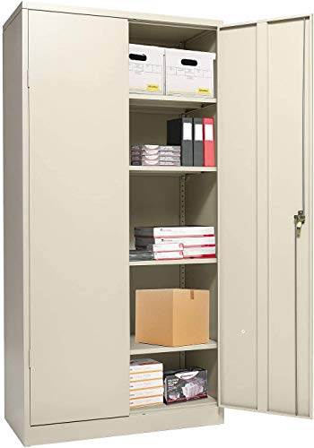 Tall Metal Cabinets with Doors, Lockable Steel Storeage Cabinet with 4 Adjustable Shelves, Great for Garage, Kitchen Pantry, Office, Patio and Laundry Room(Gray)