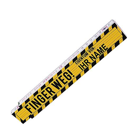 Zollstock mit Wunsch-Namen und Motiv – Finger weg - | Meterstab individuell bedruckt | Glieder-Maßstab personalisiert