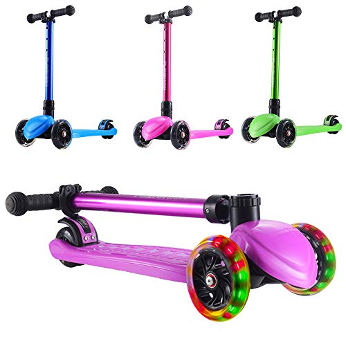 Playshion Foldable Kick Scooter for Kids with Adjustable Height and LED Light up Wheels Width 30mm Bright Purple