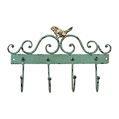 Bird-Themed Wall Coat Rack - Cast Iron with Robins Egg Blue Rustic Finish - 4 Hanging Hooks