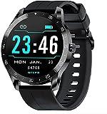 IOWODO Smartwatch Uomo Orologio Fitness Donna Smartwatch Android Fitness Tracker Ragazzi Cronometro iOS, Cardiofrequenzimetro, Sonno, Notifiche Messaggi, Contapassi Intelligente Smartwatch Nero