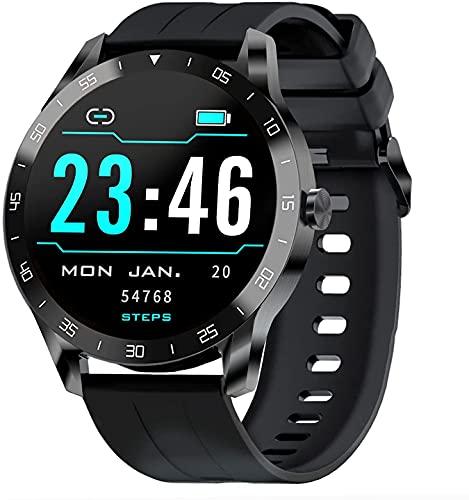 IOWODO Smartwatch Herren Fitness Tracker Damen Fitnessuhr Armbanduhr Jungen Smartwatch Wasserdicht Kompatibel Android Smartwatch iOS mit Pulsuhren, Schrittzähler, Schlafmonitor, Stoppuhr Schwarz