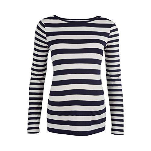 2HEARTS Le T-Shirt de Grossesse à Manches Longues Maritime Stripes T-Shirt de Grossesse T-Shirt de Grossesse, Bleu/Blanc rayé