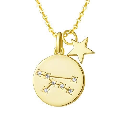 Stier Sternzeichen Kette aus Solide 925 Sterling Silber mit Gold Vergoldet Anhänger Halskette Einfach Minimalistisch Geschenk Schmuck für Damen Mädchen - Verstellbar Kettenlänge: 40 + 5 cm