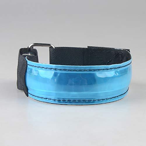 KAILUN LED Brazalete De Flash Pulsera Luminosa En El Pie Carga USB Carrera Nocturna Fluorescente Luz De Advertencia De Seguridad Siete Colores,Blue