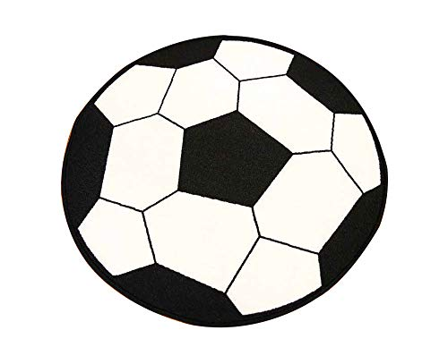 Furnish my Place Kid's Sports Theme Children Area Rug, Thick Anti Skid Rubber Backing for Kids Protection, Soccer Shape, Round