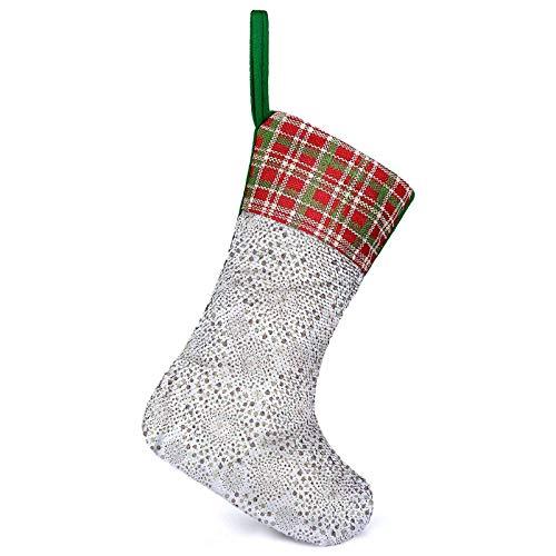Adorise Medias colgantes de Navidad Nostalgia Círculos Puntos Familiares Colgantes Calcetines para Decoraciones de Navidad